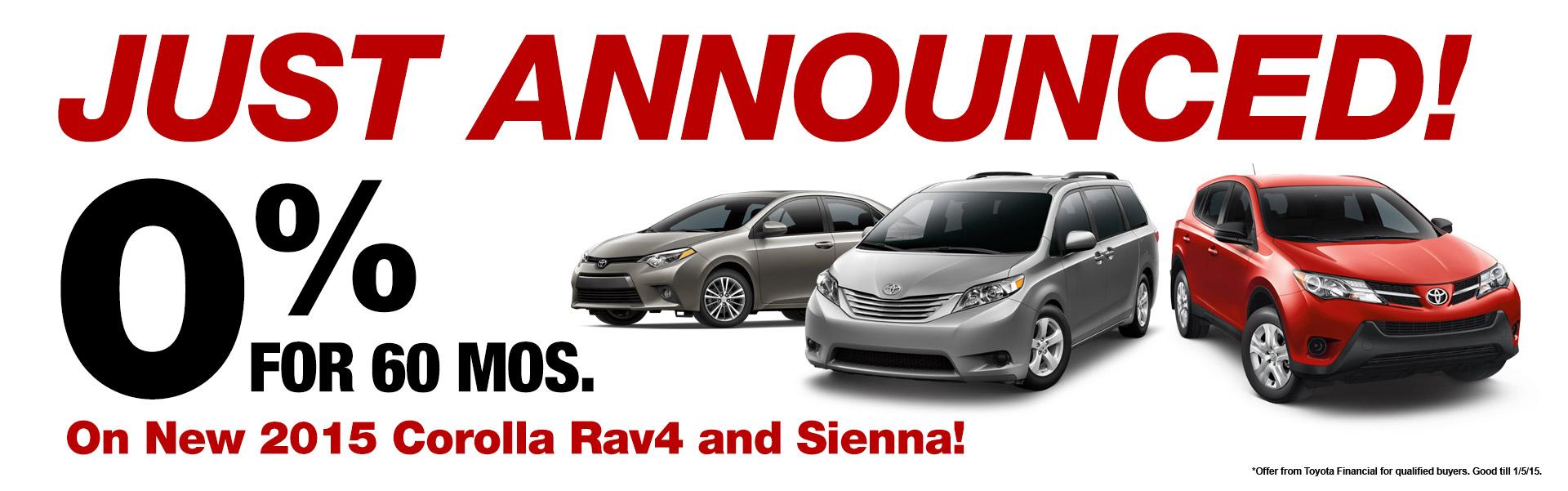 2015 Corolla Rav4 & Sienna