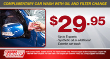 Complimentary Car Wash w/ Oil & Filter Change